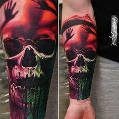 Trapped Skull by @piotrolejnik at Evil Tattoo in Kalisz Poland. #skull #aurora #trees #trapped #piotrolejnik #eviltattoo #kalisz #poland #tattoo #tattoos #tattoosnob