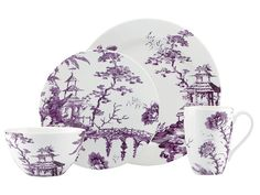 Lenox Scalamandre Toile Tale Amethyst 4 Piece Place Setting