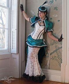 Striped Splendor Steampunk Wedding Dress