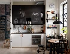 Invite creativity into your kitchen style by combining IKEA VEDDINGE white kitchen cabinet doors with UDDEVALLA chalk doors that you and your family can write on! Find modern kitchens and get inspired by more kitchen layouts in the IKEA Rooms gallery. Ikea Small Kitchen, One Wall Kitchen, Ikea Kitchen Design, Little Kitchen, White Kitchen Cabinets, Small Kitchens, Scandinavian Kitchen, Led String Lights, Küchen Design