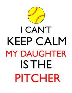 I Can't Keep Calm, Daughter is the Pitcher- Softball Mom, Softball Dad, digital design DIY t-shirt t Softball Cheers, Softball Quotes, Softball Shirts, Girls Softball, Sport Quotes, Volleyball Mom, Bff Shirts, Softball Pitching, Softball Coach