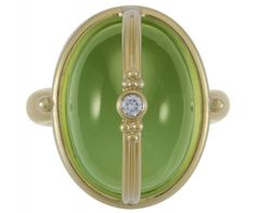 18K Classic Locket Ring with Peridot and Diamond - Lucrezia would love to slip some poison in this one!