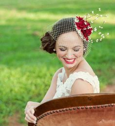 Bridal Floral Crown Fascinator Hat - Red Flowers, Cream Veil and Satin - AVALON. $95.00, via Etsy.