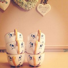 Pottery ideas... I love the cup painted like Chip!!! Love the Stencil with dots around it.. so many cute ideas!