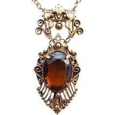 Victorian Revival Style Florenza Topaz Rhinestone Pendant Necklace Gold Tone