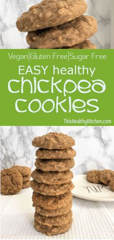These healthy chickpea cookies make a perfect breakfast for you and your kiddos…. These healthy chickpea cookies make a perfect breakfast for you and your kiddos. They are loaded with protein and delicious peanut butter. Chickpea Cookies, Healthy Cookies, Healthy Dessert Recipes, Healthy Treats, Healthy Baking, Healthy Desserts, Baby Food Recipes, Whole Food Recipes, Healthy Chickpea Recipes