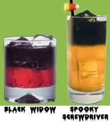 Spooky Screwdriver:  2oz. Black Vodka, very cold  3oz. Pulp free OJ    Black Widow:  2oz. Black Vodka, very cold  3oz. Cranberry Juice    -Serve with ice and in clear glasses to show off color.