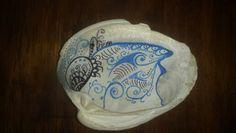 Doodles on a found broken seashell,  found in Fort Pierce