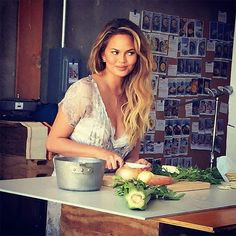 Chrissy Teigen Just Gave Us Our First Recipe for Thanksgiving via Brit + Co.