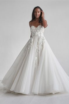 Bentlee by Watters is a soft aline with falling leaflike appliques throughout the bodice. Arriving to our store soon! Set up an appointment through the link. Colored Wedding Dress, Sweetheart Wedding Dress, Bridal Dresses, Ball Gowns, Wedding Ideas, Wedding Pins, Tulle Wedding, Dream Wedding, Three Dimensional