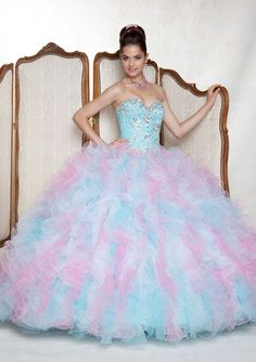 Long strapless pastel blue & pale pink ombre dress with silver rhinestone bodice accents & tiered ruffle skirt from Vizcaya By Mori Lee (Style: 88056).