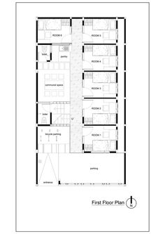 quarto de hotel Gallery of Bioclimatic and Biophilic Boarding House / Andyrahman Architect - 21 Town House Floor Plan, Beach House Floor Plans, Hotel Floor Plan, Home Design Floor Plans, House Plans, Home Map Design, House Design, Plano Hotel, The Plan