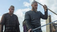 Alexander Ludwig as Bjorn and Travis Fimmel as Ragnar (Photo credit: Jonathan Hession)