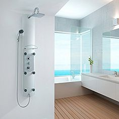 Thermostatic Modern Bathroom Shower Column Tower Panel with 6 Body Jets