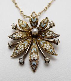 Art Nouveau Deco 14k Gold ENAMEL Pearl Forget Me Not Lavalier Pendant Necklace