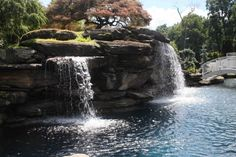 The strength, power and beauty of massive stones compose the artistic foundations of many of our custom water feature swimming pools. Swimming Pool Landscaping, Landscaping With Rocks, Modern Landscaping, Swimming Pools, Backyard Walkway, Backyard Landscaping, Backyard Pools, Pool Landscape Design, Natural Garden