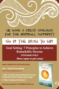 We have 3 of Stephanie's books to give away .. go into the draw NOW! Find out more . .  DrumRoll ... and the beat goes out ...Issue 69 sent Wed 16th November http://conta.cc/2fWuFfL #DrumRoll #DrumRollPromotions #NewZealand #wellbeing #connection #community  #Goals #StephaniePhilp #GoalSetting #free