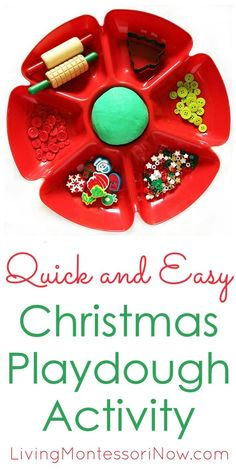 This quick and easy Christmas playdough has only 2 ingredients other than food coloring and is simple enough for a 2 year old to do most of the work - Living Montessori Now Holiday Activities For Kids, Indoor Activities, Toddler Activities, Simple Christmas, Kids Christmas, Playdough Activities, Homemade Paint, Preschool Themes, Practical Life
