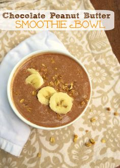 Chocolate Peanut Butter Smoothie Bowl | Teaspoonofspice.com Put down the straw and pick up a spoon! Get a healthy fix of PB & chocolate with this thick and rich smoothie bowl.