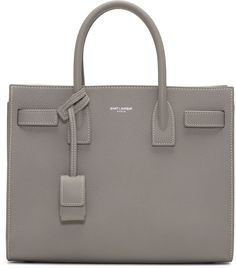 SAINT LAURENT Grey Baby Sac de Jour Tote. #saintlaurent #bags #shoulder bags #hand bags #leather #tote #lining #