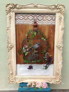 Birdcage, Frame, Vintage Bird Cage, Frame, Diy, Vintage, Home Decor, Picture Frame, Creative, House, Homemade Home Decor
