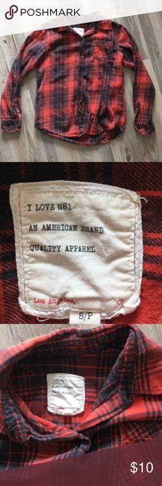 """I love H81 Flannel Shirt in Red Plaid I call this one """"my go to flannel"""". Long-sleeve button down flannel in gently used condition with comfortable material. Size small. [this is not the same shirt that I am wearing in one of my posts] i love H81 Tops Button Down Shirts"""