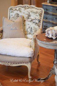 Bergere chair in burlap, toile, and grain sack