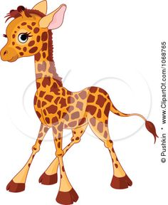 Clipart Baby Giraffe Standing - Royalty Free Vector Illustration by Pushkin