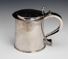 A Charles II silver tankard by Edward Mangie, Hull, circa the cover and body each stamped twice with maker's mark and the town mark, Baronet, Catholic Religion, Tumbler Cups, Makers Mark, Antique Silver, Two By Two, Auction, English, Stamp