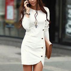 Unique Slit Single Breasted Dress | Fashion Dresses | Clothing & Apparel-ByGoods.Com