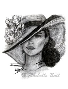 10% Off Holiday Sale - Original Charcoal Drawing Art Fashion Print - Victorian Woman in Derby Hat