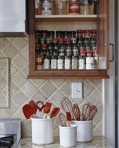 Cooking Area with Smart Storage - tiered spice storage
