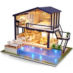 about Loft Apartments Miniature Dollhouse Wooden Doll House Furniture LED Kit DIY LED Loft Apartments Dollhouse Miniature Wooden Furniture Kit Doll House Gift Wooden Dolls House Furniture, Apartment Furniture, Dollhouse Furniture, Diy Furniture, Luxury Furniture, Wooden House, Miniature Furniture, Furniture Stores, Apartment Ideas