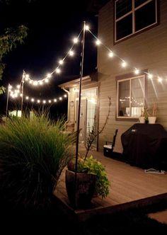 19 Super Ideas For Patio Deck Pergola Outdoor Lighting Poles For Outdoor Lights, Patio String Lights, Outdoor Lamps, Indoor Outdoor, Outdoor Decor, Backyard Lighting, Deck Lighting, Lighting Ideas, Outdoor String Lighting