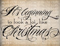 Antique Christmas Quote Scroll Fancy Ornate Script Digital Download for Papercrafts, Placemats, Transfer, Pillows, etc Burlap No 4017. $1.00, via Etsy.