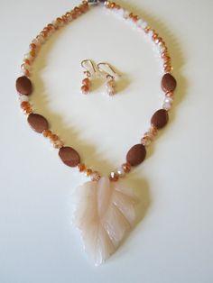 Statement Necklace with Peach Aventurine Leaf pendant by yasmi65, $32.00