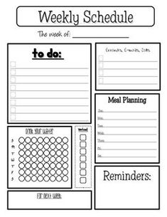 Free! Weekly Planner for home.