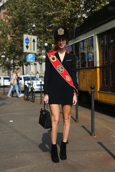 The 25 Best Street Style Snaps From Milan Fashion Week: Chiara Ferragni in Moschino FW 13. Yep. She went there.   Photo: Imaxtree