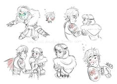 "whaticalldoodling: "" More httyd scribbles just to make sure my hand does remember how to doodle them "" < Hiccstrid. :)"