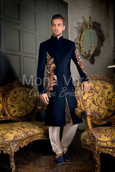 New men indian wedding outfit item code g asian bridal wear fusion dress by mona vora Sherwani For Men Wedding, Wedding Dresses Men Indian, Wedding Dress Men, Wedding Men, Wedding Suits, Sherwani For Groom, Punjabi Wedding, Wedding Ideas, Indian Weddings