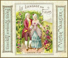 vintage perfume label images | Antq PERFUME Labels * CHERUBS Roses + | Our Cottage Garden