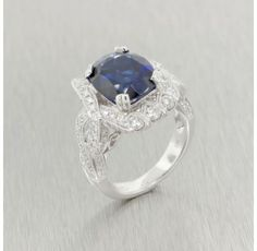 14kt. White Gold Sapphire and Diamond Ring