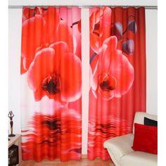 Záves s červenými kvetmi Curtains, Shower, Prints, Rain Shower Heads, Blinds, Showers, Draping, Picture Window Treatments, Window Treatments