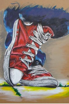Red, white  blue converse art.