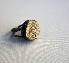 Massive Glittering Gold Drusy Ring in Handmade Sterling Silver Setting. $132.00, via Etsy.