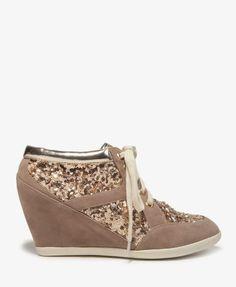 #Glittered Wedge Sneakers