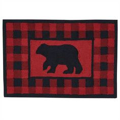 Buffalo Plaid Hooked Bear Rug - Red and black buffalo plaid highlights a bear silhouette on this classic polyester rug. Living Room Red, Living Room Area Rugs, Black Bear Decor, Bear Rug, Bear Silhouette, Polyester Rugs, Hand Hooked Rugs, Parking Design, Home Rugs