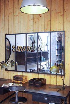 Miroir indus en m tal l 180 cm cargo verri re maisons du for Miroir atelier chehoma