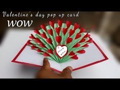 hand made gift for valentine's day / valentine's day pop up card tutorial 3d heart /paper crafts all - YouTube