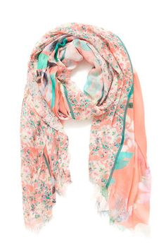 Elizabeth Gillett Sweet Floral Coral Scarf – Mod and Retro Clothing Coral Scarf, Retro Clothing, Fringe Trim, Retro Outfits, Womens Scarves, Alexander Mcqueen, Floral Prints, Sweet, Clothes